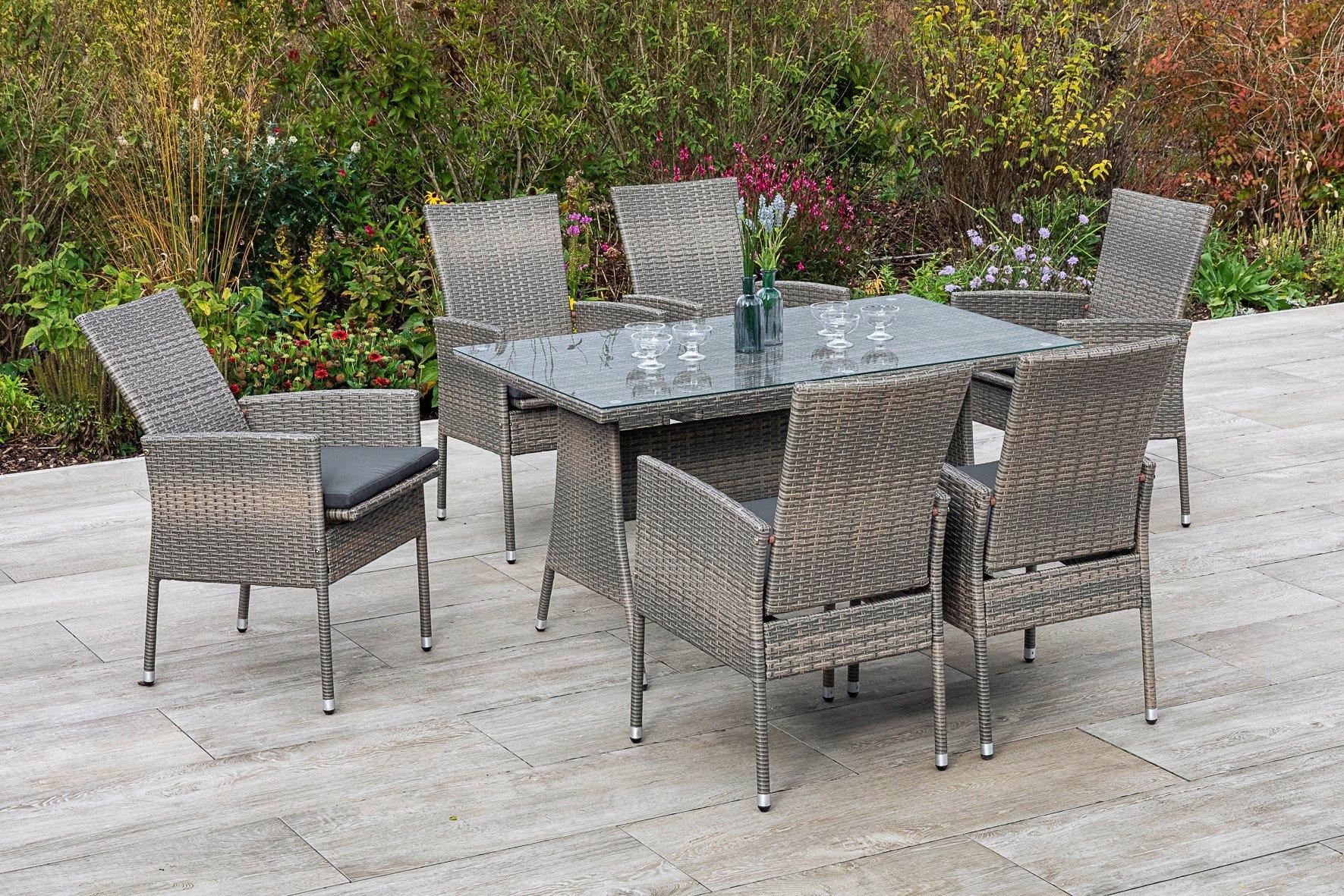 MERXX Tuinmeubelset Sevilla 6 fauteuils met zitkussen, tafel, steenbeige (7 delig) in de webshop van OTTO kopen