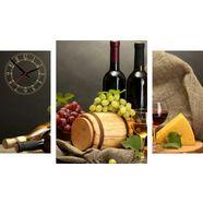 conni oberkircher´s wanddecoratie wine  cheese met decoratieve klok (set) geel