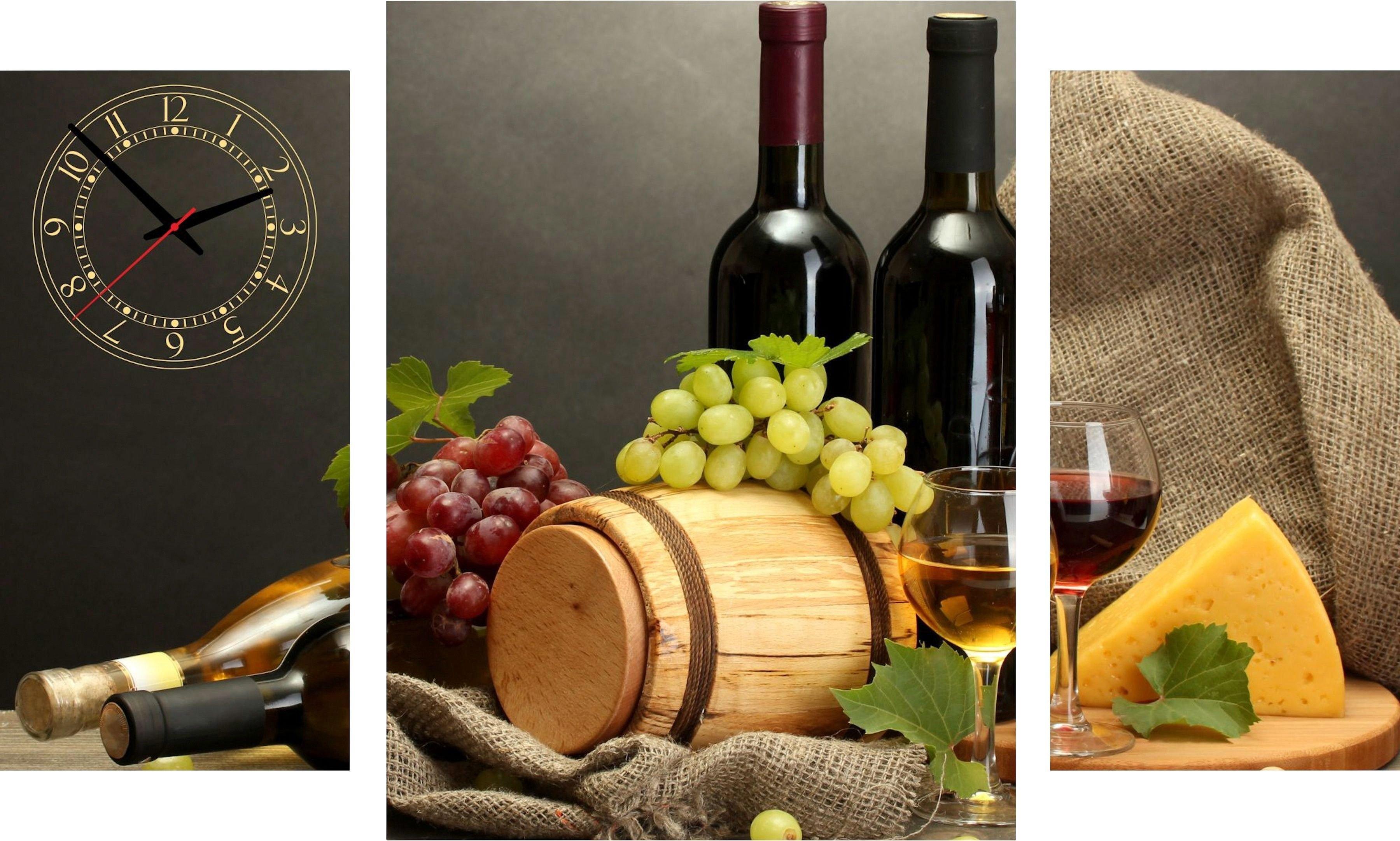 Conni Oberkircher´s wanddecoratie Wine & Cheese met decoratieve klok (set) nu online kopen bij OTTO