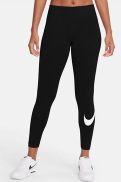 nike sportswear legging essential womens mid-rise swoosh legging zwart