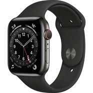apple watch series 6 gps + cellular, aluminium kast met sportbandje 44 mm inclusief oplaadstation (magnetische oplaadkabel) zwart