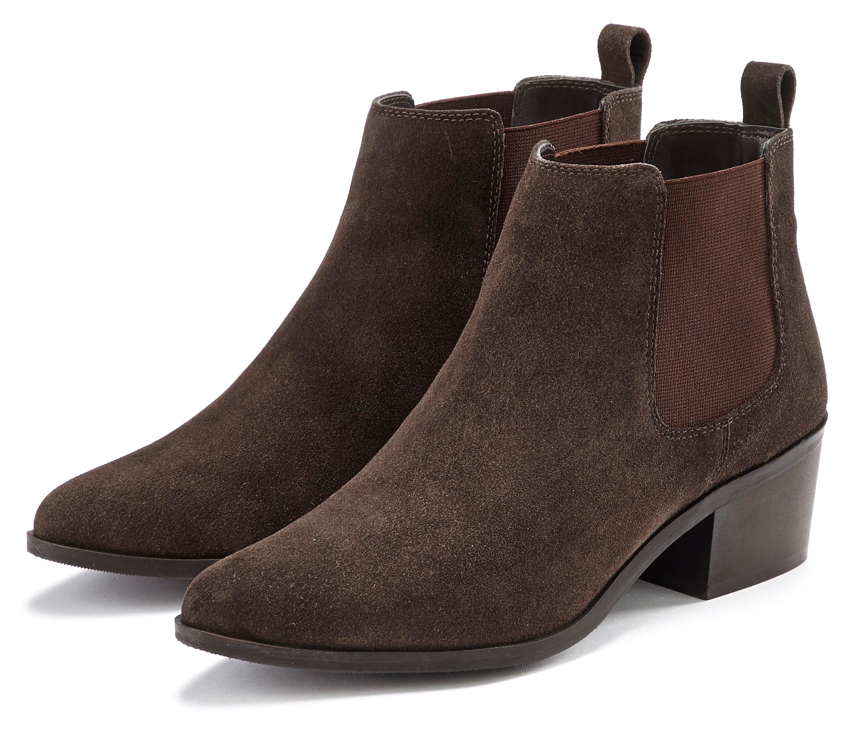 Lascana laarsjes van suèdeleer, chelsea-boots in modieuze cowboy-look nu online kopen bij OTTO