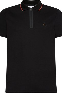 calvin klein poloshirt »liquid touch zipper slim polo« zwart