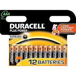 duracell batterij plus power micro aaa lr03 (set, 12 stuks) zwart