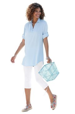 casual looks lange blouse blauw