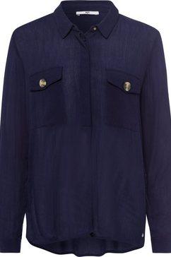 ajc blouse zonder sluiting met klepzakken en knopen in hoorn-look blauw