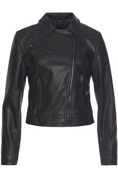 ltb korte blazer nilaka in imitatieleer met contrastkleurige ritssluitingen zwart