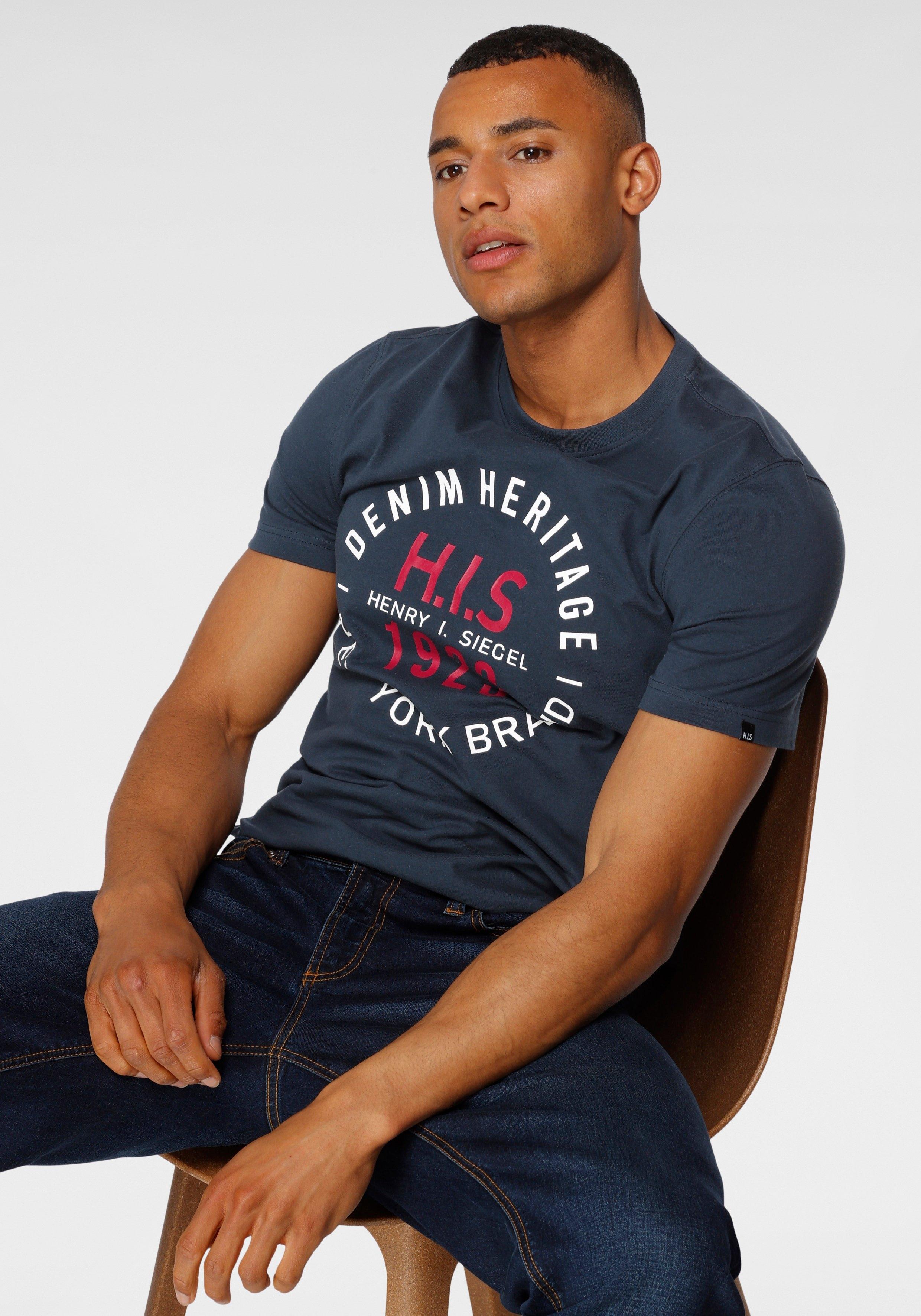 H.I.S Shirt met ronde hals met merkprint - verschillende betaalmethodes