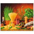 artland keukenwand mediterraans en italiaans eten zelfklevend in vele maten - spatscherm keuken achter kookplaat en spoelbak als wandbescherming tegen vet, water en vuil - achterwand, wandbekleding van aluminium (1-delig) multicolor