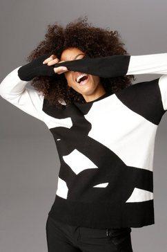 aniston selected gebreide trui met modieus kleine opstaande kraag zwart