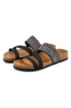 lascana slippers met kurkvoetbed en elastische riemen zwart