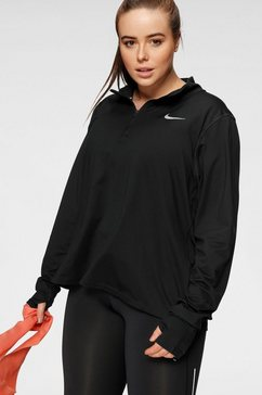 nike runningshirt »womens 1-2-zip running top plus size« zwart