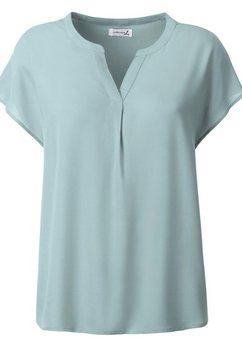 casual looks blouse met flatteus vallende plooi voor groen