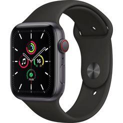apple watch se gps + cellular, aluminium kast met sportbandje 44 mm inclusief oplaadstation (magnetische oplaadkabel) zwart