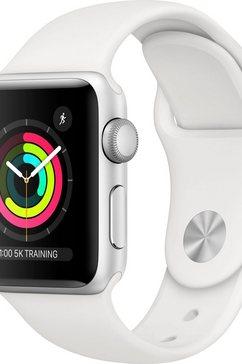 apple watch series 3 gps, aluminium kast met sportbandje 38 mm inclusief oplaadstation (magnetische oplaadkabel) zilver