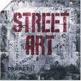 artland artprint street art - straatkunst in vele afmetingen  productsoorten - artprint van aluminium - artprint voor buiten, artprint op linnen, poster, muursticker - wandfolie ook geschikt voor de badkamer (1 stuk) grijs