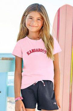 kangaroos t-shirt met flockprint roze