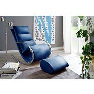 mca furniture relaxfauteuil york relaxfauteuil met hocker, belastbaar tot 100 kg blauw