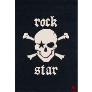 rock star baby vloerkleed voor de kinderkamer rn2385-1 met de hand gesneden relifpatroon, 80% wolaandeel, kinder- en tienerkamer zwart