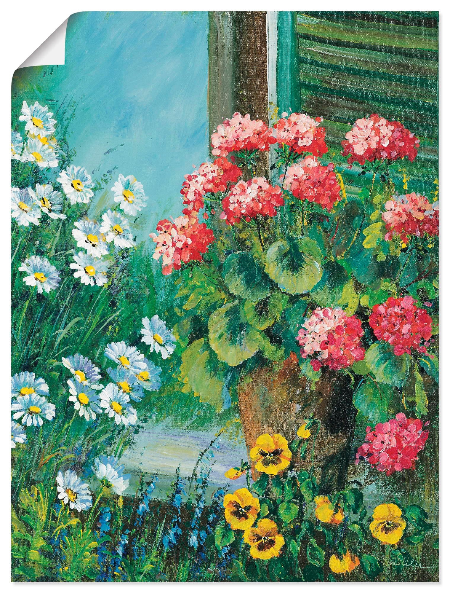 Artland artprint Bloemen bij jouw raam in vele afmetingen & productsoorten -artprint op linnen, poster, muursticker / wandfolie ook geschikt voor de badkamer (1 stuk) nu online bestellen