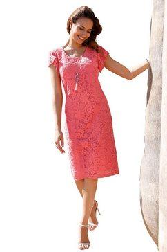 lady jurk met chique, prettig zachte kant all-over rood
