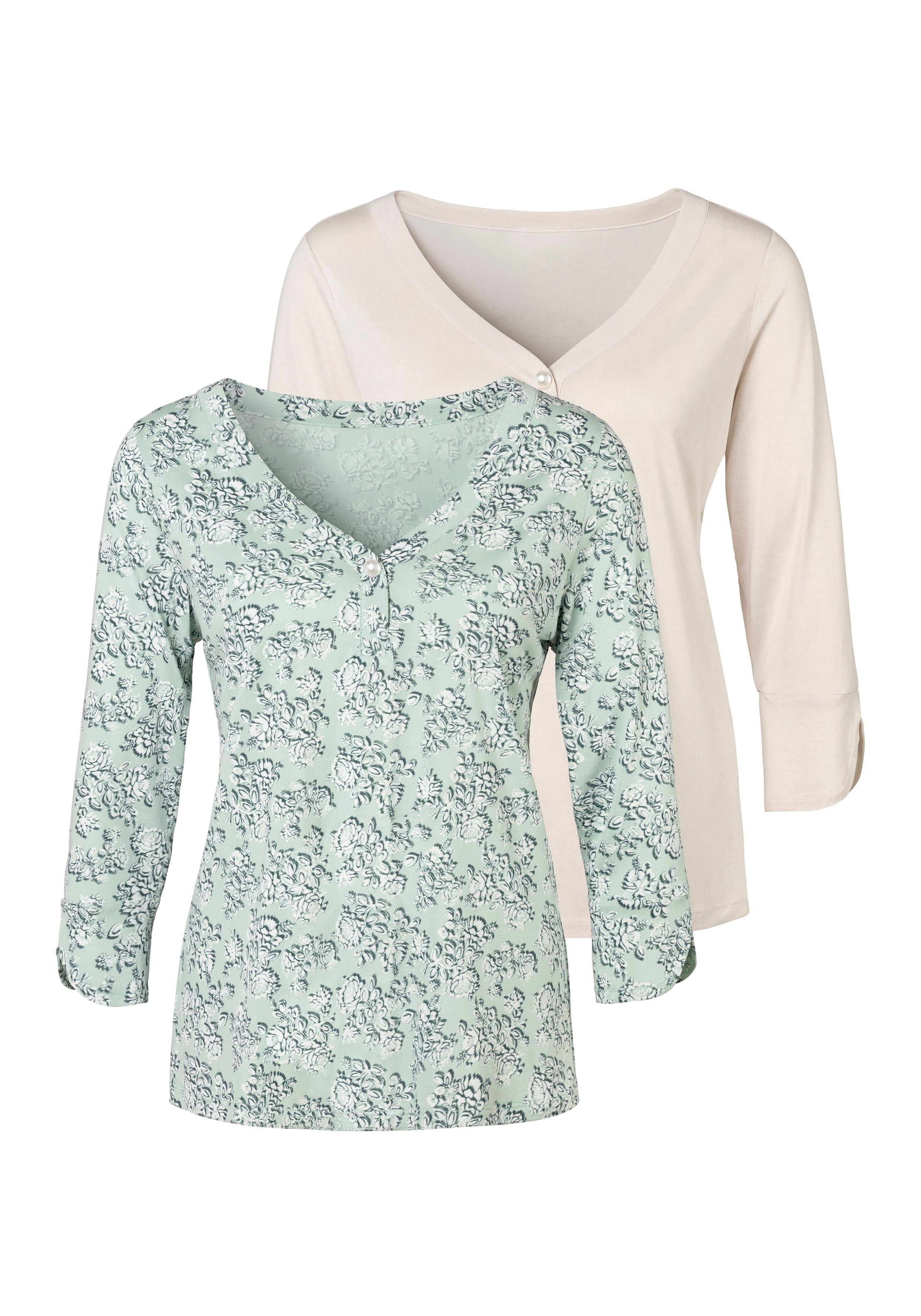 Lascana shirt met 3/4-mouwen met grote kunstparel (Set van 2) bij OTTO online kopen