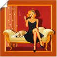 artland artprint »pin up glamour girl« goud