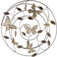 gilde sierobject voor aan de wand wandrelif farfalle grijs-bruin-goudkleur wanddecoratie, oe 50 cm, van metaal, met bladeren  vlinders, woonkamer (1 stuk) grijs