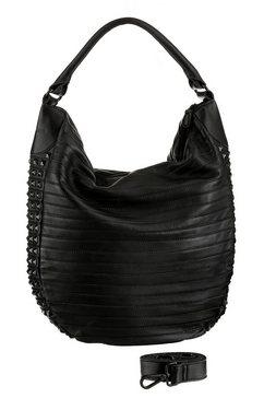 fredsbruder hobo-tas van echt leer met een modieuze perforatie zwart