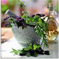 artland print op glas gezonde kruidenmix in de vijzel (1 stuk) bruin