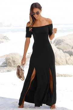 lascana maxi-jurk met lang splitje onder in de pijpen zwart