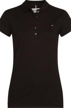 tommy hilfiger poloshirt heritage short sleeve slim polo met tommy hilfiger-merklabel op borsthoogte zwart