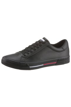 tommy jeans sneakers »essential leather sneaker« zwart