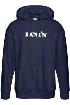 levi's hoodie met logoprint blauw