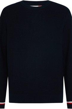 tommy hilfiger trui met ronde hals pattern structure sw blauw
