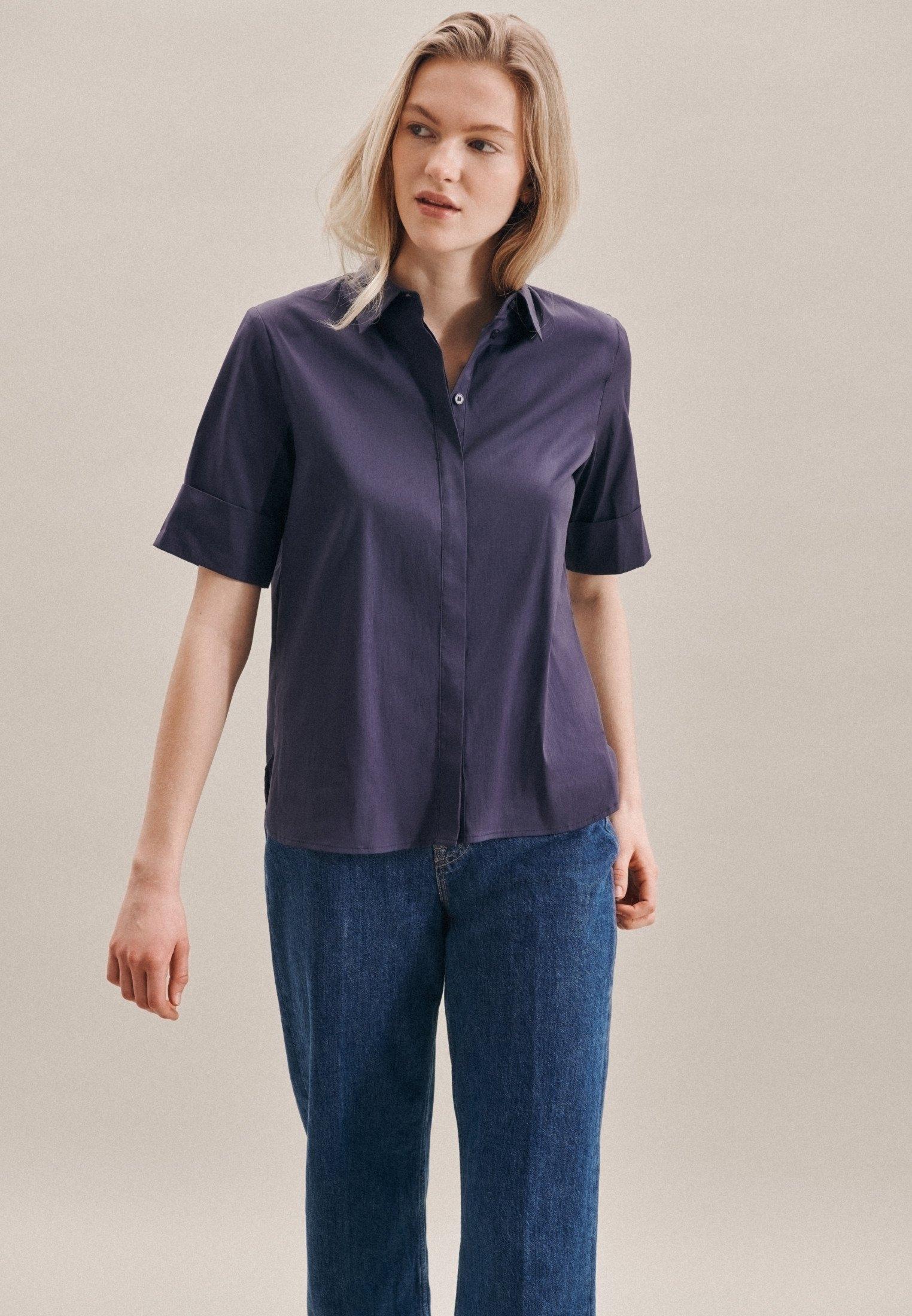 seidensticker overhemdblouse Zwarte roos Korte mouwen kraag uni in de webshop van OTTO kopen