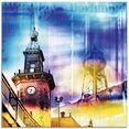 artland print op glas dortmund skyline abstracte collage (1 stuk) paars