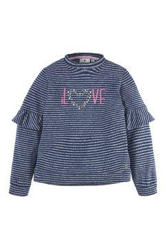 tom tailor sweatshirt »gestreiftes sweatshirt mit artwork« blauw