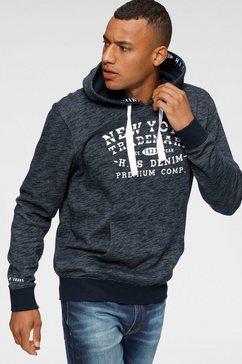 h.i.s hoodie met gedessineerde tape bij de capuchon blauw