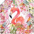 artland artprint flamingo in bloemen jungle in vele afmetingen  productsoorten - artprint van aluminium - artprint voor buiten, artprint op linnen, poster, muursticker - wandfolie ook geschikt voor de badkamer (1 stuk) roze