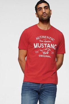 mustang t-shirt met grote logo-frontprint rood