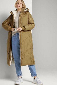 tom tailor denim gewatteerde jas »maxi puffermantel zum wenden« bruin