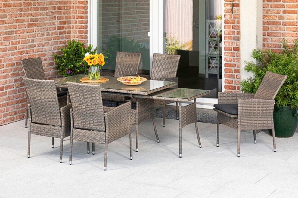 MERXX Tuinmeubelset Sevilla 6 fauteuils met zitkussen, uittrekbare tafel, steenbeige (7 delig) in de webshop van OTTO kopen