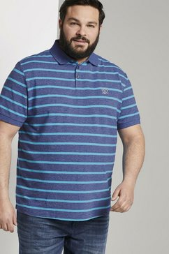 tom tailor men plus poloshirt »gestreiftes poloshirt mit kleiner stickerei« blauw