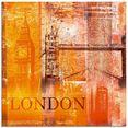 artland print op glas londen skyline abstracte collage (1 stuk) oranje