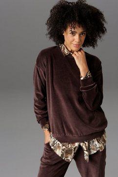 aniston casual sweatshirt in zachte fluweelkwaliteit, nieuwe collectie bruin