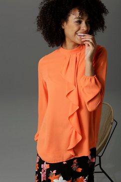 aniston casual blouse met lange mouwen met kleine volant voor oranje