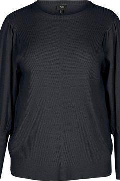 zizzi gebreide trui met structuurmotief voor zwart