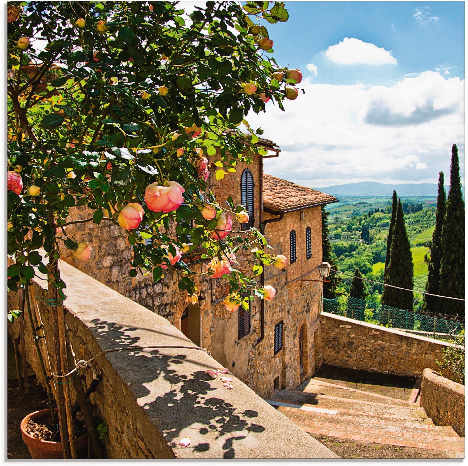 Op zoek naar een Artland print op glas Rozen op balkon Toscaans landschap (1 stuk)? Koop online bij OTTO