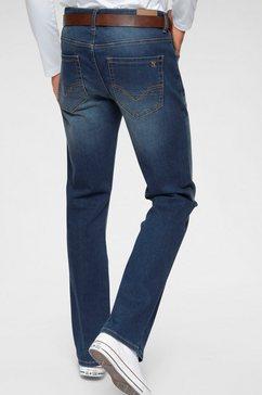 h.i.s bootcut jeans booth duurzame, waterbesparende productie door ozon wash (set, met een afneembare riem) blauw